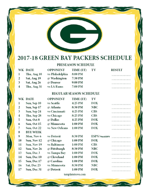 Green Bay Packers 2017-18 Printable Schedule