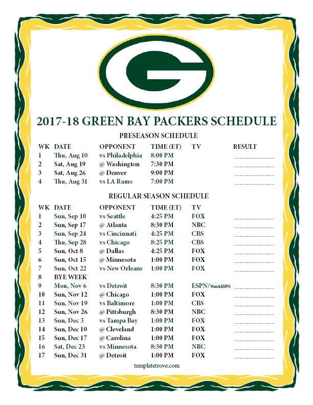 Printable 2017 2018 Green Bay Packers Schedule