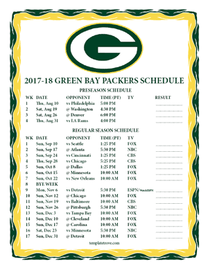 Green Bay Packers 2017-18 Printable Schedule - Pacific Times