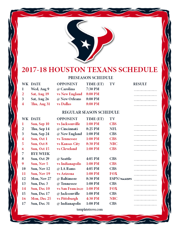 Printable 2017 2018 Houston Texans Schedule