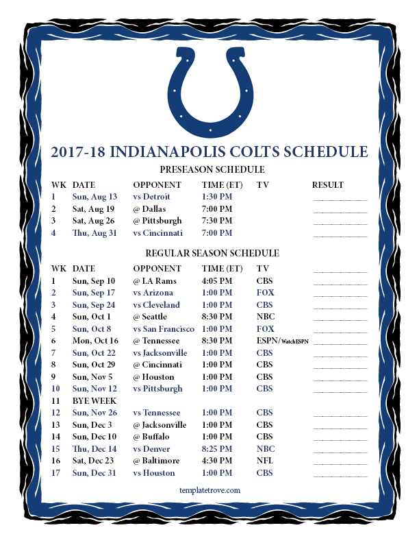Printable 2017 2018 Indianapolis Colts Schedule
