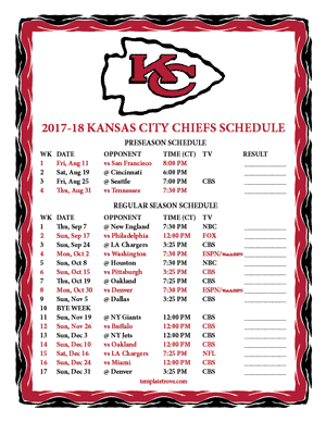 Kansas City Chiefs 2017-18 Printable Schedule - Central Times