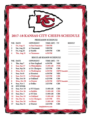 Kansas City Chiefs 2017-18 Printable Schedule - Mountain Times