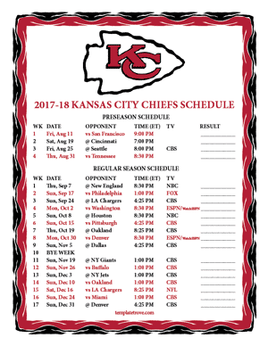 Kansas City Chiefs 2017-18 Printable Schedule
