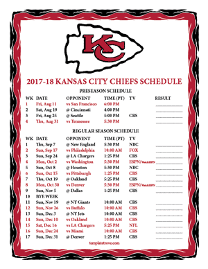 Kansas City Chiefs 2017-18 Printable Schedule - Pacific Times