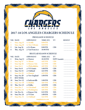 Los Angeles Chargers 2017-18 Printable Schedule