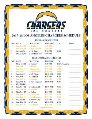 Los Angeles Chargers 2017-18 Printable Schedule - Pacific Times