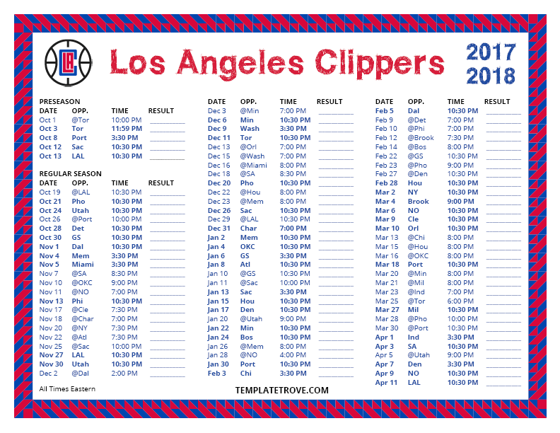 Printable 2017-2018 Los Angeles Clippers Schedule