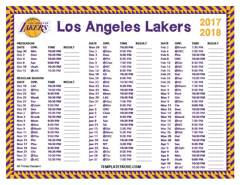 Printable 2017 2018 Los Angeles Lakers Schedule
