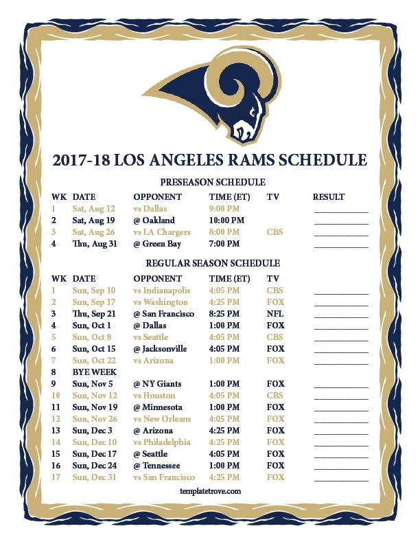 Printable 2017 2018 Los Angeles Rams Schedule
