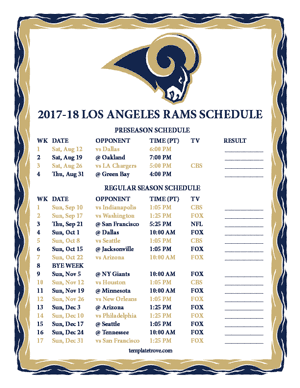 Los Angeles Rams 2017-18 Printable Schedule - Pacific Times