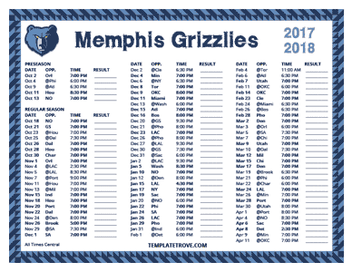 2017-18 Printable Memphis Grizzlies Schedule - Central Times