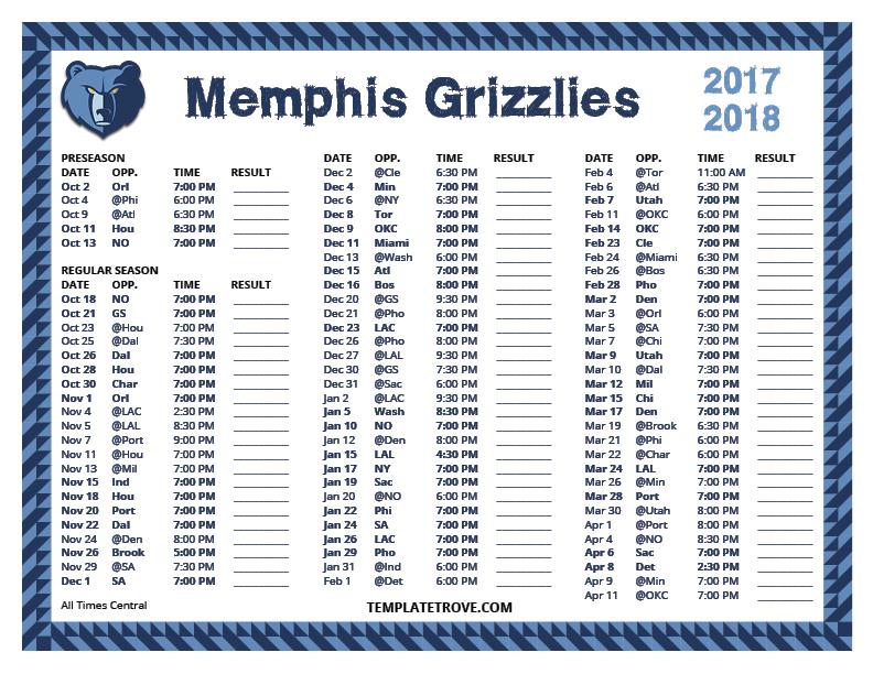 Printable 2017 2018 Memphis Grizzlies Schedule
