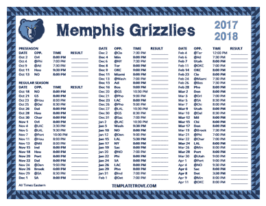 Memphis Grizzlies 2017-18 Printable Schedule