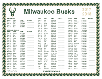 Milwaukee Bucks 2017-18 Printable Schedule - Pacific Times