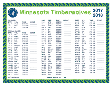 2017-18 Printable Minnesota Timberwolves Schedule - Central Times