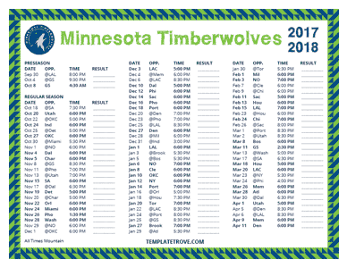 Minnesota Timberwolves 2017-18 Printable Schedule - Mountain Times