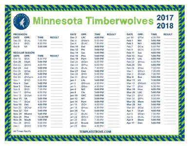 Minnesota Timberwolves 2017-18 Printable Schedule - Pacific Times
