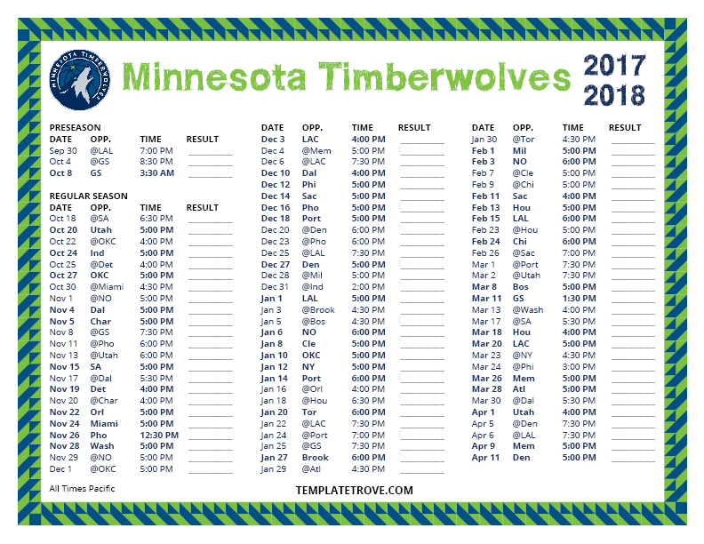 Printable 2017-2018 Minnesota Timberwolves Schedule