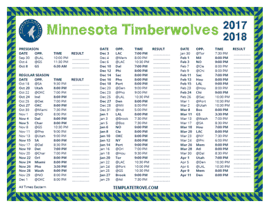 Minnesota Timberwolves 2017-18 Printable Schedule