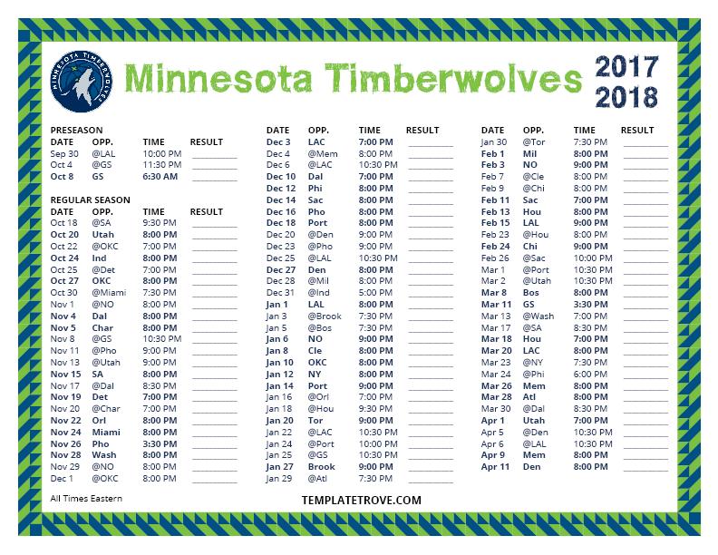 Printable 2017 2018 Minnesota Timberwolves Schedule