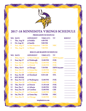Minnesota Vikings 2017-18 Printable Schedule - Central Times