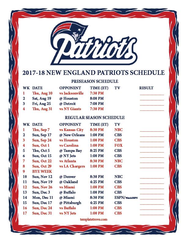 Printable 2017 2018 New England Patriots Schedule