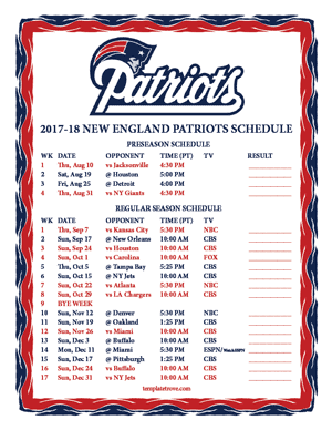 New England Patriots 2017-18 Printable Schedule - Pacific Times
