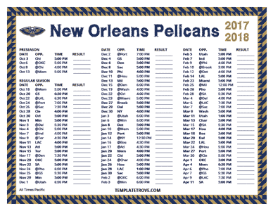 New Orleans Pelicans 2017-18 Printable Schedule - Pacific Times