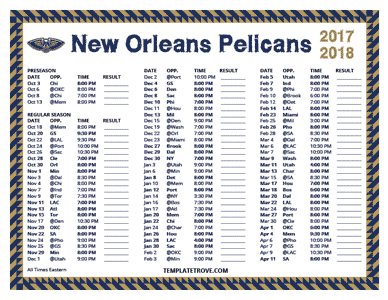 New Orleans Pelicans 2017-18 Printable Schedule