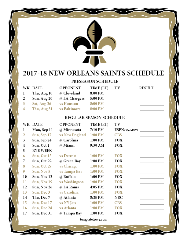 Printable 2017 2018 New Orleans Saints Schedule