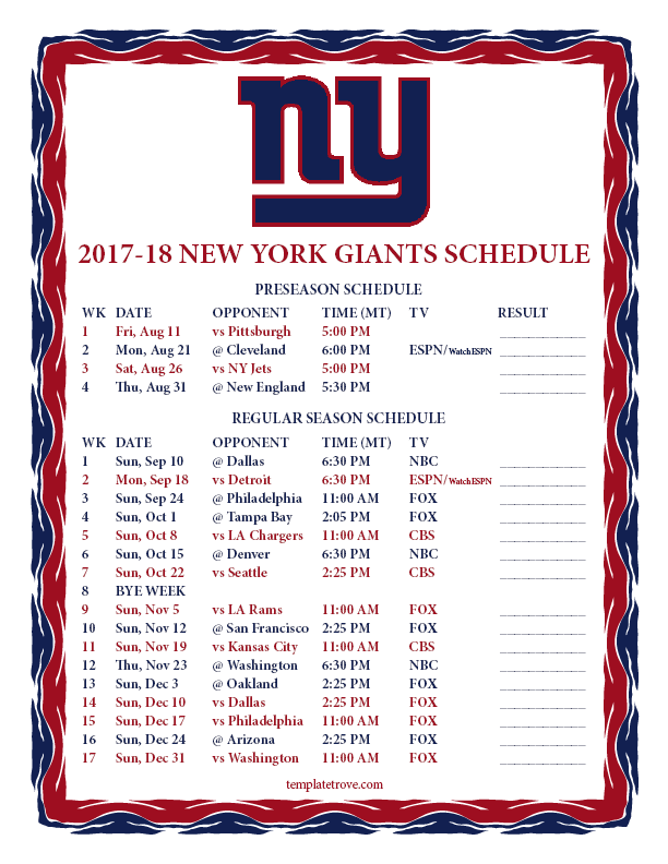What Are The New York Giants Home Games This Season