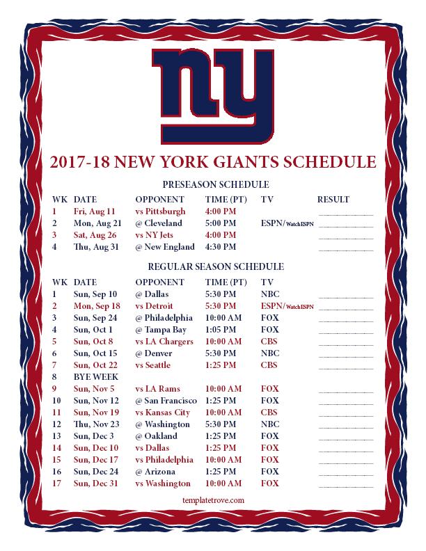 Printable 2017-2018 New York Giants Schedule
