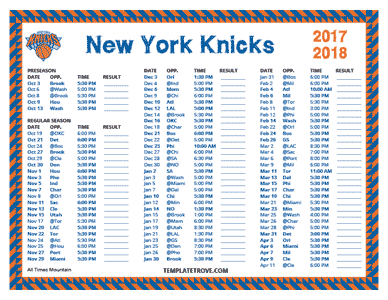 New York Knicks 2017-18 Printable Schedule - Mountain Times