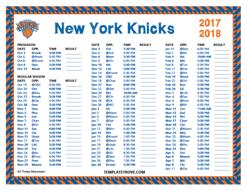 Printable 2017 2018 New York Knicks Schedule