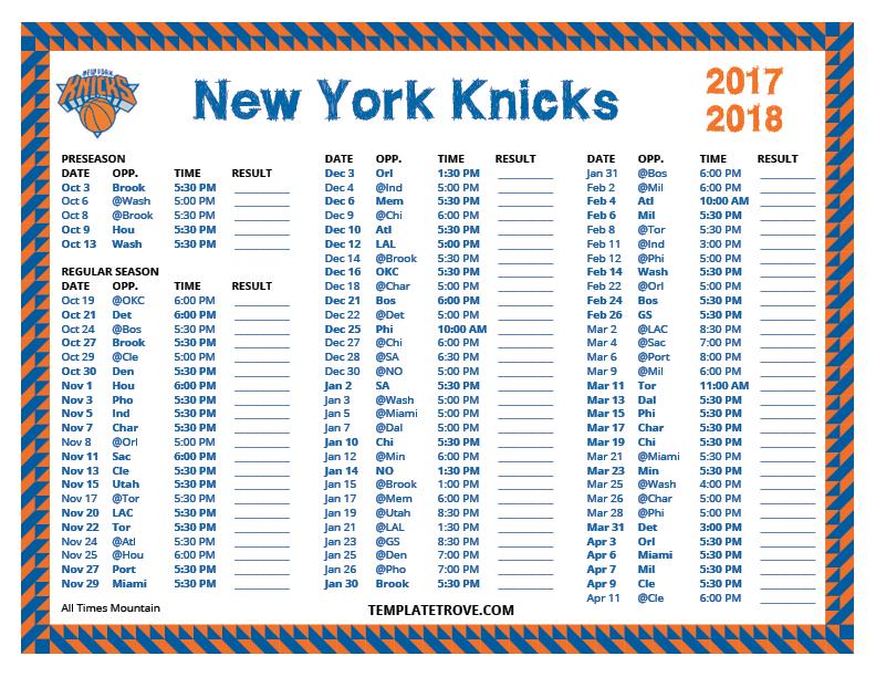 printable 20172018 new york knicks schedule