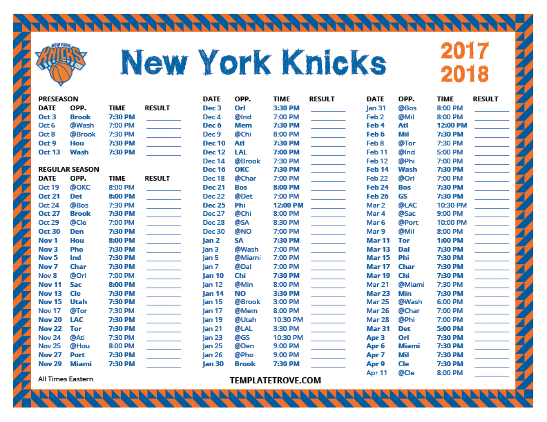 Printable 2017-2018 New York Knicks Schedule