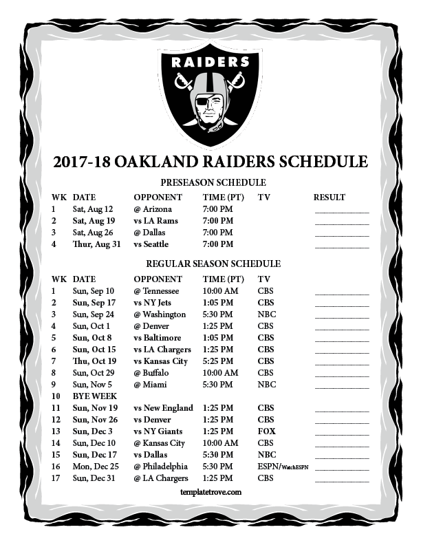 Printable 2017 2018 Oakland Raiders Schedule