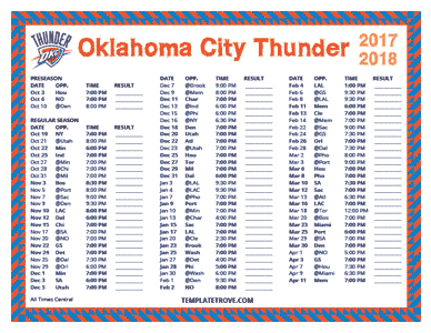 2017-18 Printable Oklahoma City Thunder Schedule - Central Times