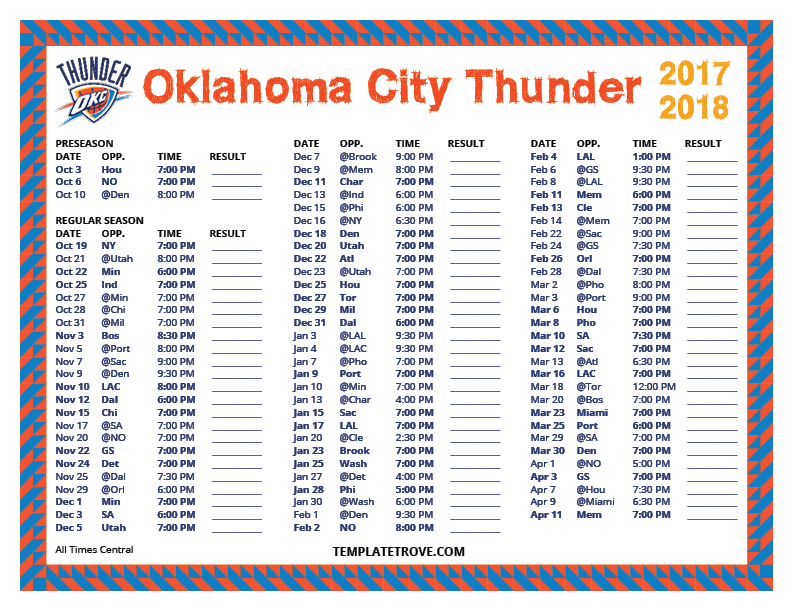 2017-2018-Printable-Oklahoma-City-Thunder-Schedule-Central-Times Microsoft Word Free Newsletter Template on