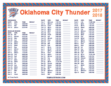 Oklahoma City Thunder 2017-18 Printable Schedule - Pacific Times