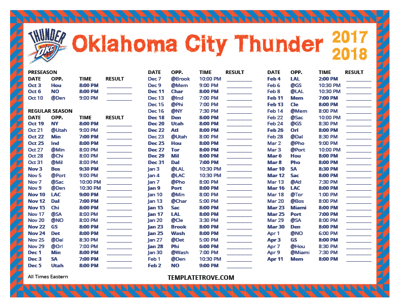 picture regarding Okc Thunder Printable Schedule named Printable 2017-2018 Oklahoma Metropolis Thunder Agenda