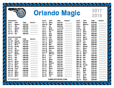 Orlando Magic 2017-18 Printable Schedule - Pacific Times