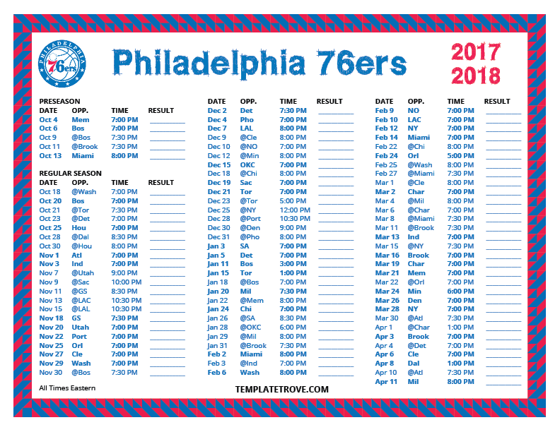 image relating to 76ers Printable Schedule referred to as Printable 2017-2018 Philadelphia 76ers Timetable