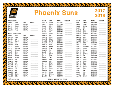2017-18 Printable Phoenix Suns Schedule - Central Times