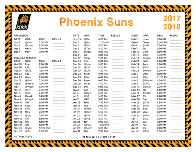 Phoenix Suns 2017-18 Printable Schedule - Pacific Times