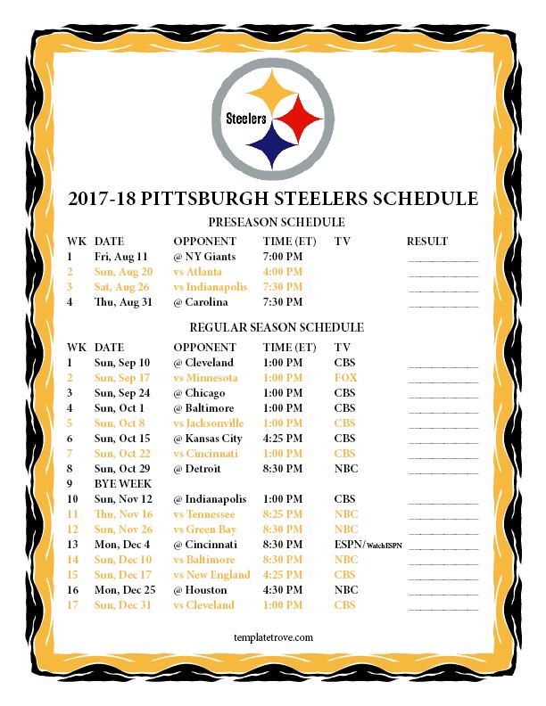 Printable 2017 2018 Pittsburgh Steelers Schedule