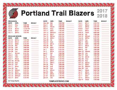 Portland Trail Blazers 2017-18 Printable Schedule - Pacific Times