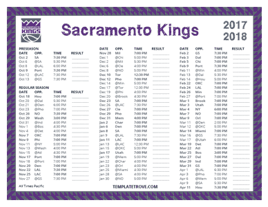 Sacramento Kings 2017-18 Printable Schedule - Pacific Times