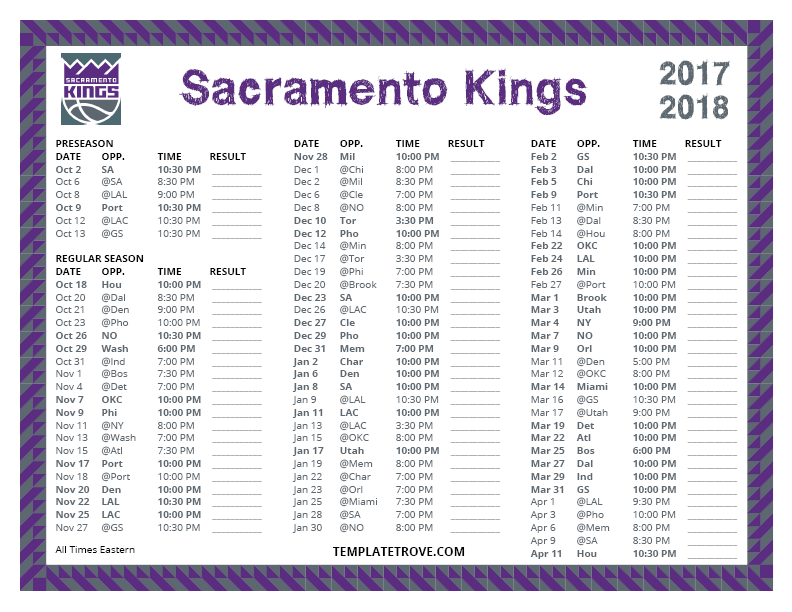 This is a photo of Critical Sacramento Kings Printable Schedule